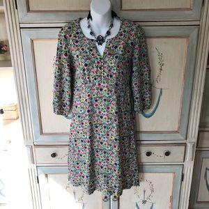Boden green floral 3/4 sleeve lightweight dress 8